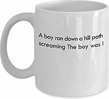 A boy ran down a hill path screaming. The boy was