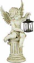A.G.S. Deko Gartenfigur Gartenengel auf Säule