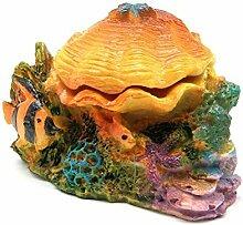 a-goo orange Colorful Bubbling Shell Design Aquarium Ornaments Dekoration für Fisch Tank (CONTIAN der gift-high Nachahmung Rotfeuerfisch Landschaftsbau Ornament)
