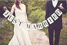 A-goo Rechteck Just Married Hochzeit Girlande