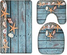 A.Monamour Badezimmer Badematte 3 Teilig Set Blau