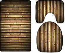 A.Monamour Badezimmer Badematte 3 Teilig Set Braun