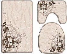 A.Monamour Badezimmer Badematte 3 Teilig Set