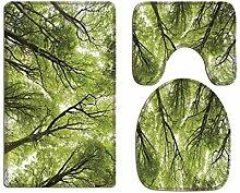 A.Monamour Badezimmer Badematte 3 Teilig Set Wald