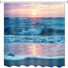 A.Monamour Duschvorhänge Strand Sonnenuntergang