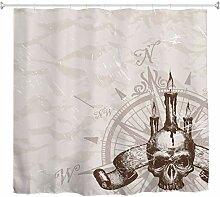 A.Monamour Duschvorhänge Vintage Kompass Schädel