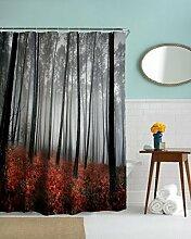 """A.Monamour Nebel Nebelig Gothic Verloren Wald Baum Rote Blumen Gras Pflanzen Szenische Druck Bad Décor Wasserdichte Duschvorhänge Textil 180X200 Cm / 72 """"""""X78"""