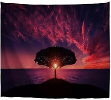 A.Monamour Wandteppiche Baum Im Sonnenuntergang