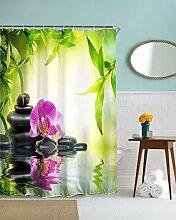"""A.Monamour Yoga Meditation Zen Grüne Pflanzen Orchidee Blume Felsen Steine ??Wasser Natürliche Landschaft Drucken Umweltfreundliche Tuch Duschvorhang Bad Décor 165X180 Cm / 65 """"""""X 72"""