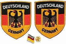 A-ONE Aufnäher, 2 + 1 Stück, Deutschland-Flagge,