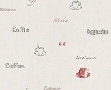 A.S. Création Tapete Dekora Natur 5, Kaffee, grau, rot, schwarz, 633828