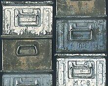 A.S. Création Vliestapete Around the world Tapete in Vintage Optik 10,05 m x 0,53 m blau schwarz weiß Made in Germany 306751 30675-1