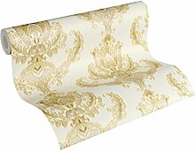 A.S. Création Vliestapete Hermitage 10 Tapete klassisch neo-barock 10,05 m x 0,53 m creme gelb Made in Germany 335463 33546-3