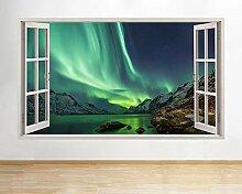 A186 Nordlichter Island Raum Wandtattoo Poster 3D