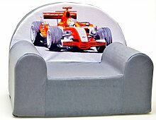 A22 Kindersessel Sessel Kinderstuhl Kindersofa Relaxsessel weich gemütlich verschiedene Farben (A22 grau Formel1)