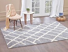 A2Z Rug Moderne und traditionelle marokkanische Shaggy Collection Teppiche, Hellgrau (5530),200 x 290 cm