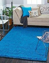 A2z Schnellspanner Teppich Cozy Shag Kollektion massiv Shag Teppich Moderne Living & Schlafzimmer Weiche Shaggy Bereich Teppich, Teppich (60x 100cm–2'x3' 7,6cm FT, Blau)