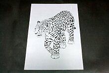 A3 Textil / Wand Schablone stehender Leopard W-003