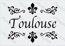 A4-Schablone, Shabby Chic, Französisch, Möbel, Stoff, Glas, wiederverwendbar (98)