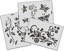 A4 Textil / Wand Schablonen SET-005 Floral A
