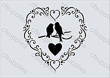 A5 Schablone für Schokopulver Shabby Chic Vintage, Frankreich, Möbel, Stoff, Glas, wiederverwendbarem Mylar (110)