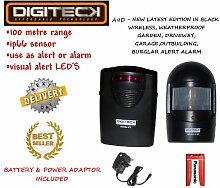 A9D- NEW LATEST EDITION IN BLACK WIRELESS WEATHERPROOF DIY WIRELESS WEATHERPROOF GARDEN,DRIVEWAY,GARAGE,OUTBUILDING BURGLAR ALERT ALARM SUPPLIED WITH BATTERY & ADAPTOR by Digiteck