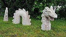 AAF Nommel ® Stein Gartenfigur Drache massiv aus 3 Teilen zur Dekoration Nr. 001