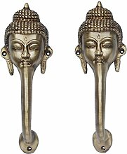 aakrati Buddha-Gesicht Tür Griff aus Messing gelb