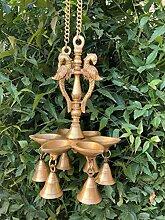 Aakrati Hängende Pfauen-Öllampe mit Glocken zum
