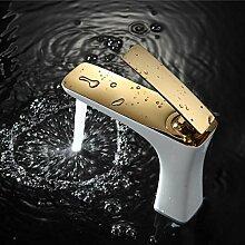 Aawang Bad Chrom/Gold Weiß Malerei Wasserhahn