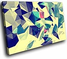 AB1768C gerahmte Leinwanddruck Bunter Wand-Kunst - Retro Blau Rosa Gelb - modernes abstraktes Wohnzimmer Schlafzimmer Bild Stück Wohnkultur Interior Design Einfach Hang Guide (60x40cm)