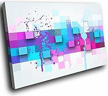 AB977B gerahmte Leinwanddruck Bunte Wand-Kunst - Retro Blau Rosa Cool - modernes abstraktes Wohnzimmer Schlafzimmer Bild Stück Wohnkultur Interior Design Einfach Hang Guide (40x30cm)