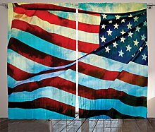 ABAKUHAUS Amerikanische Flagge Rustikaler Gardine,