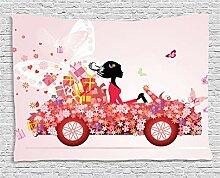 ABAKUHAUS Autos Wandteppich, Mädchen auf einem