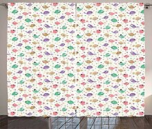 ABAKUHAUS Baby Rustikaler Vorhang, Vogelkarikatur