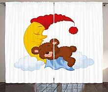 ABAKUHAUS Bär Rustikaler Vorhang, Kinder Cartoon