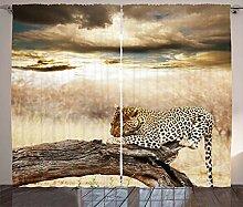 ABAKUHAUS Beige Rustikaler Vorhang, Afrikanischer