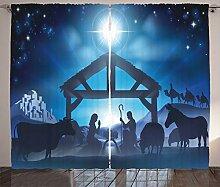 ABAKUHAUS Blau Rustikaler Vorhang, Birth Night