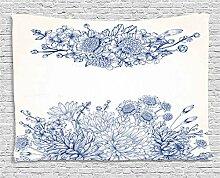 ABAKUHAUS Blau Wandteppich, Brautstrauß Nelken,