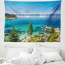 ABAKUHAUS Blau Wandteppich Landschaft Paradies