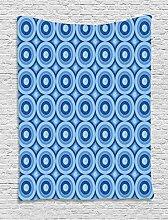 ABAKUHAUS Blau Wandteppich, Retro Muster
