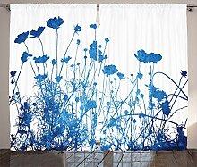 ABAKUHAUS Blau Weiss Rustikaler Vorhang,