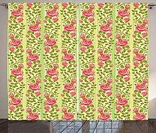 ABAKUHAUS Blumen Rustikaler Vorhang, Klassische