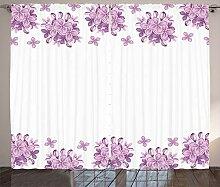 ABAKUHAUS Blumen Rustikaler Vorhang, Lila Blumen