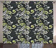 ABAKUHAUS Blumen Rustikaler Vorhang, Vintage Laub