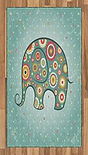 ABAKUHAUS Blumen Teppich, Elefant mit Blumen,