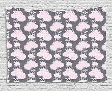ABAKUHAUS Blumen Wandteppich, Rosa