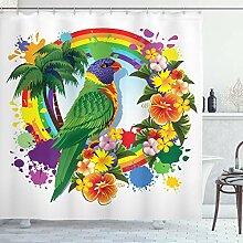 ABAKUHAUS Bunt Duschvorhang, Palmen Tropische