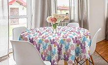 ABAKUHAUS Bunt Runde Tischdecke, Ostern Hasen und