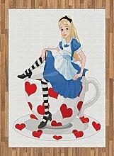 ABAKUHAUS Bunt Teppich, Alice mit Tasse,